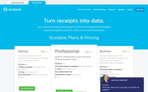 Screenshot of Pricing Page shoeboxed.com - Shoeboxed | Painless Receipt Scanning & Expense Tracking - captured April 1, 2019