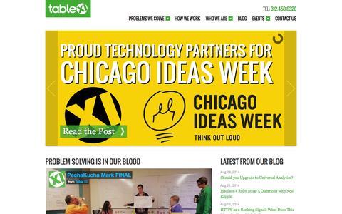 Screenshot of Home Page tablexi.com - Table XI: Chicago Web Development and Website Design - captured Sept. 19, 2014