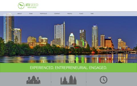 Screenshot of Home Page atxseedventures.com - Home - ATX Seed VenturesATX Seed Ventures | Capital, Contacts, and Experience, for Entrepreneurs by Entreprenuers - captured Sept. 30, 2014
