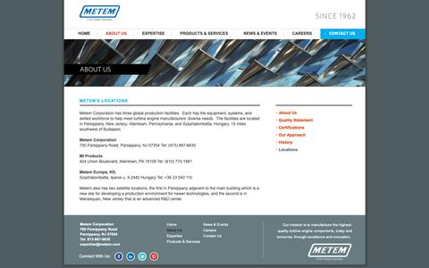 Screenshot of Locations Page metem.com - Metem - Metem is one of the leading suppliers of advanced machining and engineering solutions for turbine engine components worldwide. - captured Oct. 18, 2018
