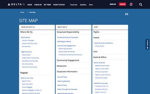 Screenshot of Site Map Page delta.com - Site Map : Delta Air Lines - captured Sept. 22, 2018