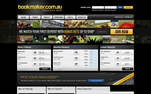 Screenshot of Home Page bookmaker.com.au - Online Betting on Sports & Racing at Bookmaker.com.au - captured Sept. 24, 2014
