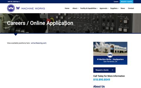 Screenshot of Jobs Page wmwcnc.com - Careers | W Machine Works - captured Dec. 2, 2016