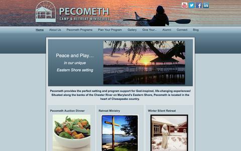 Screenshot of Home Page pecometh.org - Pecometh Camp & Retreat Ministries - captured Oct. 2, 2014
