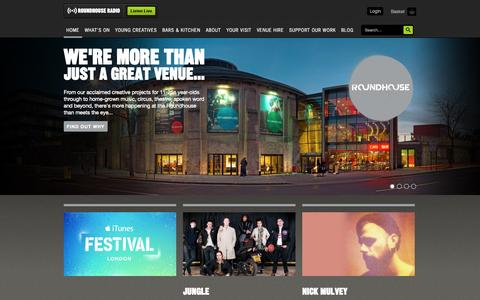 Screenshot of Home Page roundhouse.org.uk - Roundhouse   More than just a great venue... - captured Sept. 24, 2014