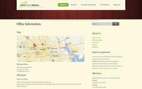 Screenshot of Maps & Directions Page lifeworksdental.com - Office Information - Lifeworks Dental - captured Sept. 30, 2014