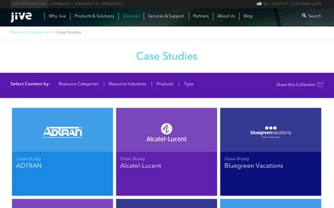 Screenshot of Case Studies Page jivesoftware.com - Case Study Archive - Jive Software - captured Oct. 28, 2014