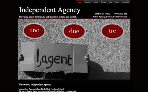 Screenshot of Home Page independentagency.co.uk - Independent Agency - providing-actors-for-film-tv-theatre-ireland-and-uk - captured Oct. 4, 2014