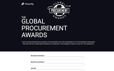 Screenshot of Landing Page procurify.com - Global Procurement Awards Nomination Form - captured Aug. 22, 2016