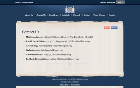 Screenshot of Contact Page shaareitefillaprov.org - Contact Us - Sha'arei Tefilla - captured Oct. 18, 2018