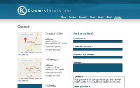 Screenshot of Contact Page kandrea.ca - Contact | Kandrea Insulation | Oilfield Services - captured Oct. 6, 2014