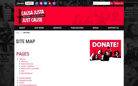 Screenshot of Site Map Page cjjc.org - Causa Justa Just Cause | Site Map - Causa Justa Just Cause - captured July 18, 2017