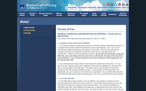 Screenshot of Terms Page bostoncatholic.org - Archdiocese of Boston Terms of Use - captured Oct. 4, 2018