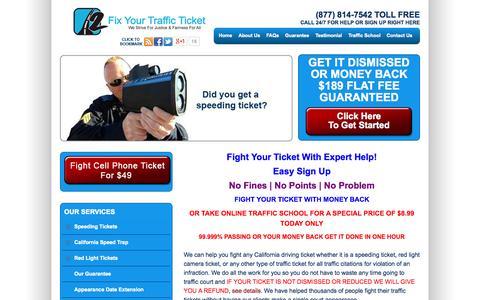 Screenshot of Home Page 2fixyourtrafficticket.com - Fight Speeding Tickets in California | 2FixYourTrafficTicket - captured Oct. 9, 2014