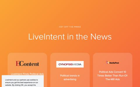Screenshot of Press Page liveintent.com - LiveIntent   Press - captured Nov. 24, 2019