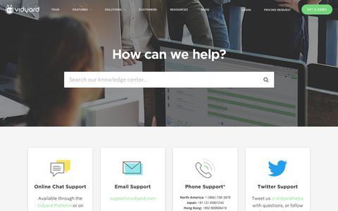 Screenshot of Support Page vidyard.com - Support - Vidyard - captured June 24, 2017