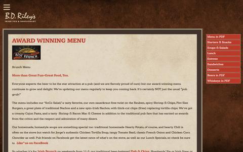 Screenshot of Menu Page bdrileys.com - Award Winning Menu • BD Riley's Irish Pub | Austin Texas - captured July 28, 2017