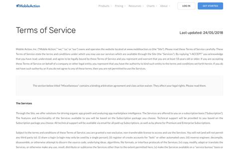 Terms Of Service | Mobile Action - App Marketing Intelligence Tool