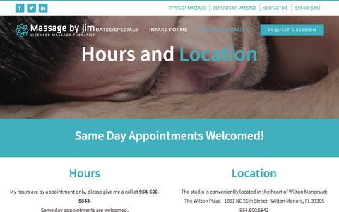 Screenshot of Hours Page massagebyjim.com - Hours and Location | Massage by Jim - captured Sept. 20, 2018