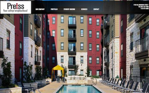 Screenshot of Home Page tpco.com - Preiss Company Student Housing Experts - captured Oct. 6, 2014