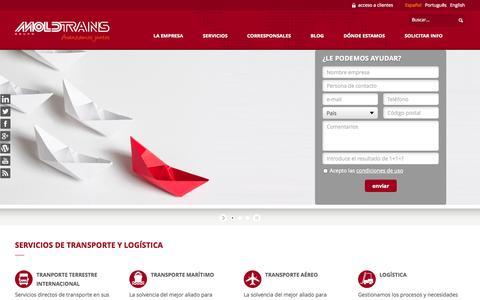 Screenshot of Home Page moldtrans.com - Empresa de logística y Transporte Internacional, terrestre y marítimo | GRUPO MOLDTRANS - captured Sept. 18, 2014