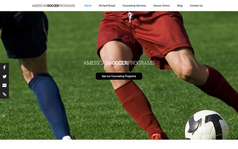 Screenshot of Home Page americansoccerprograms.com - American Soccer Programs - captured Nov. 29, 2018