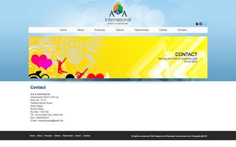 Screenshot of aaintl.net - A&A International Mumbai - captured Oct. 3, 2015