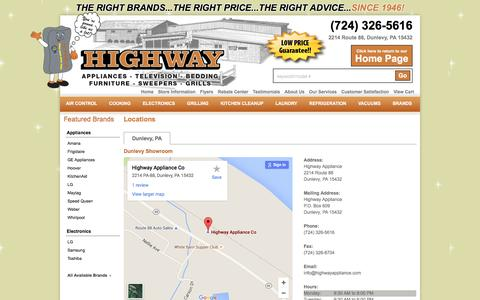 Screenshot of Contact Page Locations Page highwayappliance.com - Contact Highway Appliance in Pennsylvania - captured July 15, 2016