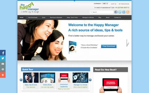 Screenshot of Home Page the-happy-manager.com - The Happy Manager | A better way to manage - captured Sept. 19, 2014