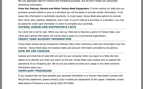 Screenshot of Privacy Page voiceswest.org captured Feb. 15, 2016