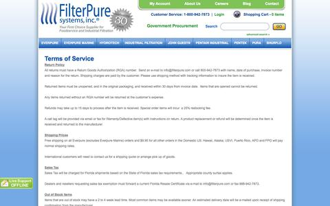 Screenshot of Terms Page filterpure.com - termsofservice - captured Oct. 5, 2014