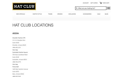 Screenshot of Locations Page hatclub.com - Find A Hat Club Store & Location | Hat Club - captured Sept. 24, 2014