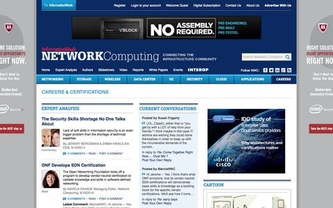Screenshot of Jobs Page networkcomputing.com - Careers & Certifications Advice, Discussion, & Community - Network Computing - captured Sept. 18, 2014