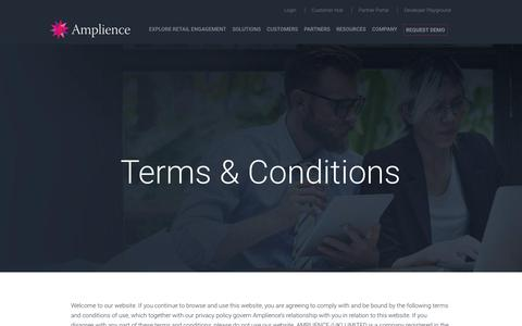 Screenshot of Terms Page amplience.com - Terms & Conditions - Amplience - captured July 12, 2018