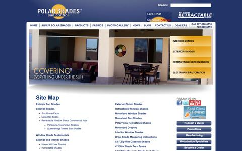 Screenshot of Site Map Page polarshade.com - Site Map - captured Oct. 2, 2014