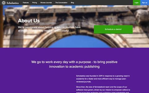 Screenshot of About Page scholasticahq.com - Scholastica: About Us - captured Nov. 2, 2014