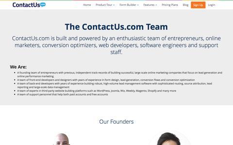 Screenshot of Team Page contactus.com - Our Team | ContactUs.com - captured Sept. 13, 2014