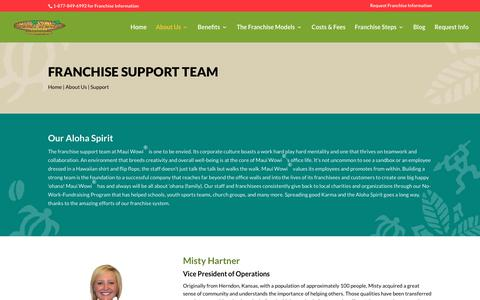 Screenshot of Support Page mauiwowifranchise.com - Franchise Support Team | Maui Wowi Smoothie Franchise - captured Feb. 28, 2019