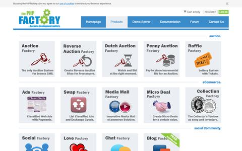 Screenshot of Products Page thefactory.ro - Joomla Extensions by thePHPfactory - captured Sept. 26, 2018