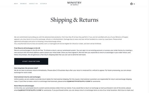 Shipping, Returns & Exchanges | Ministry of Supply