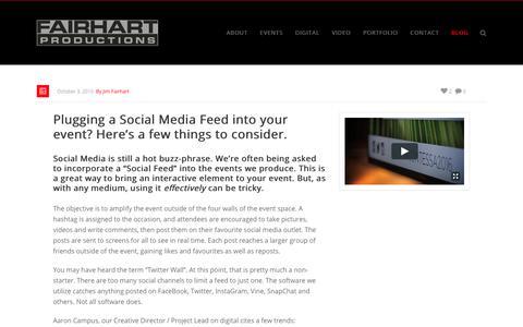 Screenshot of Blog fairhart.com - Social Media Feed, Social Feed, Twitter Wall, Event Production - Fairhart Productions - captured Oct. 13, 2017