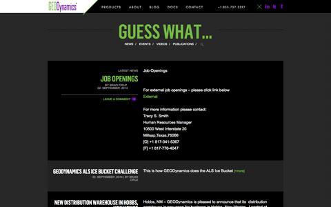 Screenshot of Press Page perf.com - News Archives - GEODynamics - captured Oct. 1, 2014