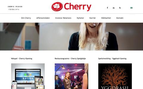 Screenshot of Home Page cherry.se - Cherry AB - Spelglädje - captured Nov. 5, 2016
