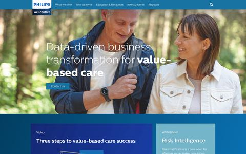 Screenshot of Home Page wellcentive.com - Philips Wellcentive   Value-Based Care - captured May 8, 2018