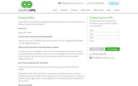 Screenshot of Privacy Page sourceups.co.uk - Privacy Policy | Source UPS - captured Oct. 7, 2014