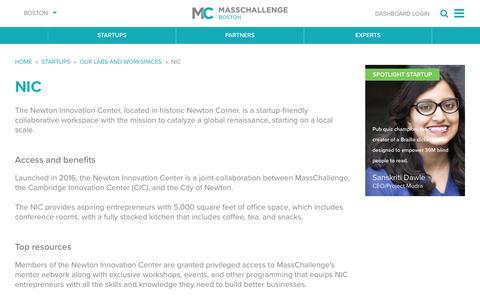 Screenshot of masschallenge.org - NIC   Boston - captured Jan. 20, 2017