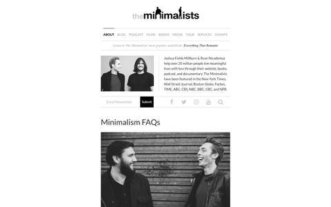 Screenshot of FAQ Page theminimalists.com - Minimalism FAQs | The Minimalists - captured May 10, 2018