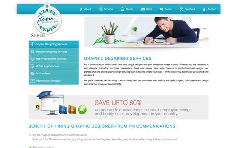 Screenshot of Services Page pmcommu.com - Best Website, Graphic, Mobile Designing and development Company Ahmedabad, India - captured Jan. 22, 2016