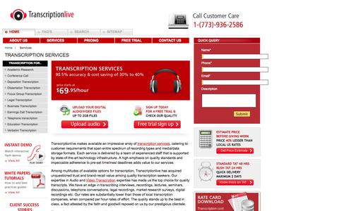 Screenshot of Services Page transcriptionlive.com - Transcription services   transcribing   interviews   recordings   audio-to-text   production   audio   mp3   video   companies - captured Oct. 7, 2014