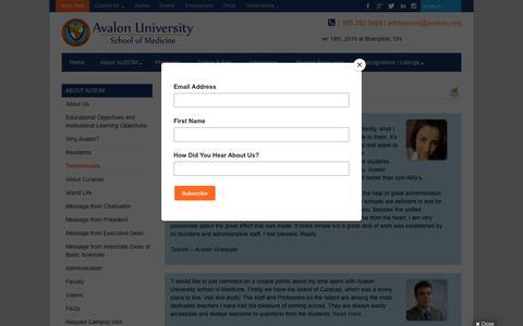 Screenshot of Testimonials Page avalonu.org - Testimonials Speak About That Medical School Ranking -Avalon University - captured Oct. 4, 2018